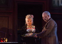 EVENING AT THE TALK HOUSE   by Wallace Shawn   set design: The Quay Brothers   costumes: Soutra Gilmour   lighting: Neil Austin   director: Ian Rickson   Anna Calder-Marshall (Nellie), Wallace Shawn (...