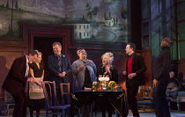 EVENING AT THE TALK HOUSE   by Wallace Shawn   set design: The Quay Brothers   costumes: Soutra Gilmour   lighting: Neil Austin   director: Ian Rickson   l-r: Stuart Milligan (Ted), Sinead Matthews (J...