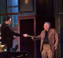EVENING AT THE TALK HOUSE   by Wallace Shawn   set design: The Quay Brothers   costumes: Soutra Gilmour   lighting: Neil Austin   director: Ian Rickson   l-r: Josh Hamilton (Robert), Wallace Shawn (Di...