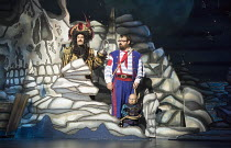 l-r: Marcus Brigstocke (Captain Hook), Jarred Christmas (Smee), Verne Troyer (Lofty the Pirate)   in PETER PAN opening at the New Wimbledon Theatre, London SW19 on 08/12/2015   director: Ian Talbot...