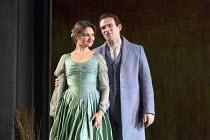 Oskana Volkova (Olga), Michael Fabiano (Lensky) in EUGENE ONEGIN by Tchaikovsky opening at The Royal Opera, Covent Garden, London WC2 on 19/12/2015   conductor: Semyon Bychkov set design: Mia Stensgaa...