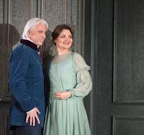 Dmitri Hvorostovsky (Eugene Onegin), Oskana Volkova (Olga) in EUGENE ONEGIN by Tchaikovsky opening at The Royal Opera, Covent Garden, London WC2 on 19/12/2015   conductor: Semyon Bychkov set design: M...