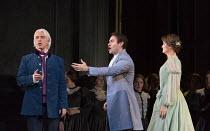 l-r: Dmitri Hvorostovsky (Eugene Onegin), Michael Fabiano (Lensky), Oskana Volkova (Olga) in EUGENE ONEGIN by Tchaikovsky opening at The Royal Opera, Covent Garden, London WC2 on 19/12/2015   conducto...