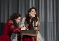 the letter scene - l-r: Emily Ranford (Young Tatyana), Nicole Car (Tatyana) in EUGENE ONEGIN by Tchaikovsky opening at The Royal Opera, Covent Garden, London WC2 on 19/12/2015   conductor: Semyon Bych...