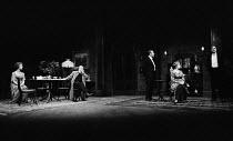 AN INSPECTOR CALLS   by J B Priestley   design: Susan Ayres   lighting: Roger Weaver   director: Bernard Miles   l-r: Sheila Ruskin (Sheila Birling), Philip Stone (Inspector Goole), Campbell Singer...