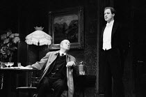 AN INSPECTOR CALLS   by J B Priestley   design: Susan Ayres   lighting: Roger Weaver   director: Bernard Miles   l-r: Philip Stone (Inspector Goole), David Horovitch (Gerald Croft) Mermaid Theatre,...