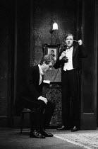 AN INSPECTOR CALLS   by J B Priestley   design: Susan Ayres   lighting: Roger Weaver   director: Bernard Miles ~~l-r: Edward Hammond (Eric Birling), David Horovitch (Gerald Croft)~Mermaid Theatre, Lon...