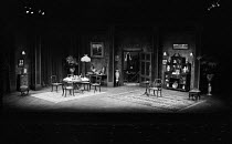 AN INSPECTOR CALLS   by J B Priestley   design: Susan Ayres   lighting: Roger Weaver   director: Bernard Miles ~~stage,set,full,empty,period,interior,Edwardian,furniture,plants,painting,lights~Mermaid...