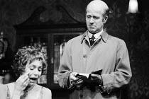 AN INSPECTOR CALLS   by J B Priestley   design: Susan Ayres   lighting: Roger Weaver   director: Bernard Miles ~~Sheila Ruskin (Sheila Birling), Philip Stone (Inspector Goole) ~Mermaid Theatre, London...