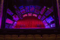 GUYS AND DOLLS a Chichester Festival Theatre 2014 production opening at the Savoy Theatre, London WC2 on 6th January 2016   stage,full,empty,signs,billboards,props,lighting,stalls,seats based on the s...