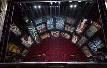 GUYS AND DOLLS a Chichester Festival Theatre 2014 production opening at the Savoy Theatre, London WC2 on 6th January 2016   stage,full,empty,signs,billboards,props,lighting,curtain,working,lights base...