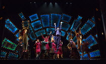 'Sit Down You're Rockin' The Boat' - company, with rear centre: Lorna Gayle (General Cartwright), Gavin Spokes (Nicely Nicely Johnson)  in GUYS AND DOLLS a Chichester Festival Theatre 2014 production...