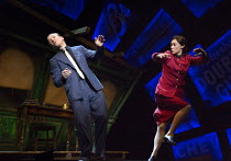 taking a hit: Jamie Parker (Sky Masterson), Siubhan Harrison (Sarah Brown) in GUYS AND DOLLS a Chichester Festival Theatre 2014 production opening at the Savoy Theatre, London WC2 on 6th January 2016...
