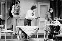 FUNNY PECULIAR   by Mike Stott   set design: Patrick Robertson   costumes: Rosemary Vercoe   lighting: Peter Sutton   director: Alan Dossor l-r: Matthew Kelly (Stanley Baldry), Richard Beckinsale (Tre...