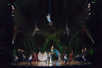 finale - centre (below) Amanda Zidow (Prospera), (top) Marie-Michelle Faber (Moon Goddess) in AMALUNA by Cirque du Soleil opening at the Royal Albert Hall, London SW7 on Tuesday 19th January 2016   wr...
