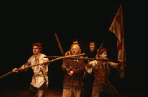 CYMBELINE   by Shakespeare   design: Kit Surrey   lighting: Clive Morris   director: Bill Alexander front, l-r: Paul Spence (Arviragus), Paul Webster (Belarius), David O'Hara (Guiderius)   rear right:...