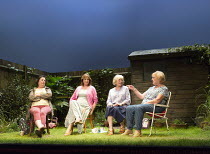 l-r: Linda  Bassett (Mrs Jarrett), Deborah Findlay (Sally), Kika Markham (Lena), June Watson (Vi) in ESCAPED ALONE by Caryl Churchill opening at the Jerwood Theatre Downstairs / Royal Court Theatre, L...