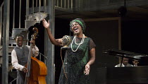 Sharon D Clarke (Ma Rainey) with Giles Terera (Slow Drag - on double bass) & Lucian Msamati (Toledo - on piano)  in MA RAINEY'S BLACK BOTTOM by August Wilson opening at the Lyttelton Theatre, National...
