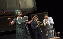 l-r: Sharon D Clarke (Ma Rainey), Clint Dyer (Cutler), O-T Fagbenle (Levee) in MA RAINEY'S BLACK BOTTOM by August Wilson opening at the Lyttelton Theatre, National Theatre, London SE1 on 02/02/2016...