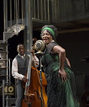 Sharon D Clarke (Ma Rainey) with Giles Terera (Slow Drag - on double bass) in MA RAINEY'S BLACK BOTTOM by August Wilson opening at the Lyttelton Theatre, National Theatre, London SE1 on 02/02/2016   d...