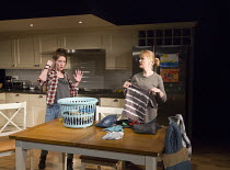 l-r: Georgina Rich (Izzy), Claire Skinner (Becca) in RABBIT HOLE by David Lindsay-Abaire opening at the Hampstead Theatre, London NW3 on 04/02/2016       design: Ashley Martin-Davis lighting: Rick Fis...