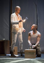 DOCTOR FAUSTUS by Christopher Marlowe design: Naomi Dawson lighting: Lee Curran director: Maria Aberg ~scene 2 - l-r: Sandy Grierson (Mephistophilis), Oliver Ryan (Doctor Faustus) ~Royal Shakespeare C...