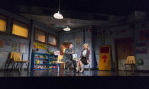 Neil Pearson (Pastor Greg), Janie Dee (Margery) in HAND TO GOD by Robert Askins opening at the Vaudeville Theatre, London WC2 on 15/02/2016   set design: Beowulf Boritt costumes: Sydney Maresca pupp...