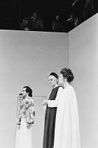 A MIDSUMMER NIGHT'S DREAM   by Shakespeare   design: Sally Jacobs   director: Peter Brook    l-r: Christopher Gable (Lysander), Ben Kingsley (Demetrius), Philip Locke (Egeus), Sara Kestelman (Hippol...