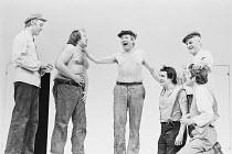 A MIDSUMMER NIGHT'S DREAM   by Shakespeare   design: Sally Jacobs   director: Peter Brook   The Mechanicals - l-r: Philip Locke (Quince), Barry Stanton (Snug), David Waller (Bottom), Glynne Lewis (F...