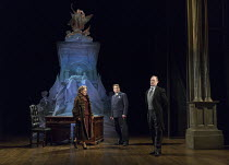 l-r: Tracie Bennett (Laura Henderson), Ian Bartholomew (Vivian Van Damm), Robert Hands (Lord Cromer) in MRS HENDERSON PRESENTS opening at the Noel Coward Theatre, London WC2 on 19/02/2016 ~based on th...