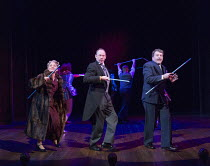 l-r: Tracie Bennett (Laura Henderson), Robert Hands (Lord Cromer), Ian Bartholomew (Vivian Van Damm) in MRS HENDERSON PRESENTS opening at the Noel Coward Theatre, London WC2 on 19/02/2016 ~based on th...