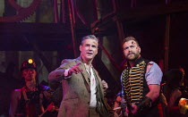 l-r: Michael Praed (George Herbert, The Journalist), Daniel Bedingfield (The Artilleryman) in THE WAR OF THE WORLDS adapted by Doreen Wayne after H G Wells music: Jeff Wayne opening at the Dominion Th...
