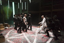 DOCTOR FAUSTUS by Christopher Marlowe design: Naomi Dawson lighting: Lee Curran director: Maria Aberg ~scene 6 - left, in vest: Oliver Ryan (Doctor Faustus) right, in white: Sandy Grierson (Mephistoph...