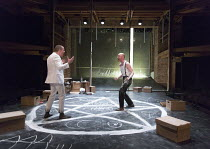 DOCTOR FAUSTUS by Christopher Marlowe design: Naomi Dawson lighting: Lee Curran director: Maria Aberg ~scene 6 - l-r: Oliver Ryan (Mephistophilis), Sandy Grierson (Doctor Faustus)~Royal Shakespeare Co...