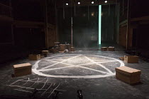 DOCTOR FAUSTUS by Christopher Marlowe design: Naomi Dawson lighting: Lee Curran director: Maria Aberg ~stage,set,full,empty,boxes,curtain,symbol,paintedRoyal Shakespeare Company (RSC) / Swan Theatre,...