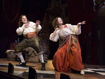 Jay Taylor (Charles Hart) and Gemma Arterton (Nell Gwynn) in NELL GWYNN by Jessica Swale opening at the Apollo Theatre, London W1 on 12/02/2016 ~a Shakespeare's Globe 2015 production music: Nigel Hess...