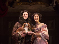 David Sturzaker (King Charles II), Gemma Arterton (Nell Gwynn) with Millie in NELL GWYNN by Jessica Swale opening at the Apollo Theatre, London W1 on 12/02/2016 ~a Shakespeare's Globe 2015 production...