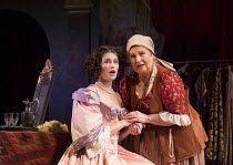 l-r: Gemma Arterton (Nell Gwynn), Michele Dotrice (Nancy) in NELL GWYNN by Jessica Swale opening at the Apollo Theatre, London W1 on 12/02/2016 ~a Shakespeare's Globe 2015 production music: Nigel Hess...