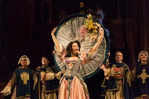 Gemma Arterton (Nell Gwynn) with (top) David Sturzaker (King Charles II)  in NELL GWYNN by Jessica Swale opening at the Apollo Theatre, London W1 on 12/02/2016   a Shakespeare's Globe 2015 production...