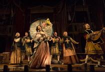 Gemma Arterton (Nell Gwynn) in NELL GWYNN by Jessica Swale opening at the Apollo Theatre, London W1 on 12/02/2016   a Shakespeare's Globe 2015 production music: Nigel Hess design: Hugh Durrant lighti...