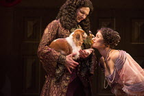David Sturzaker (King Charles II), Gemma Arterton (Nell Gwynn) with Millie in NELL GWYNN by Jessica Swale opening at the Apollo Theatre, London W1 on 12/02/2016   a Shakespeare's Globe 2015 productio...