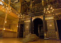THE TEMPEST by Shakespeare design: Jonathan Fensom director: Dominic Dromgoole   stage,set,empty,auditorium,seats,candles,rock Sam Wanamaker Playhouse / Shakespeare's Globe (SG), London SE1  24/02/2...