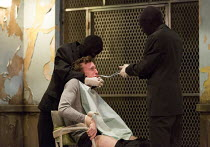 seated: Peter Hobday (Carl) in CLEANSED by Sarah Kaneo opening at the Dorfman Theatre, National Theatre (NT), London SE1 on 23/02/2016   set design: Alex Eales costumes: Sussie Juhlin-Wallen lighting:...