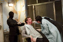 centre: Peter Hobday (Carl) right: Tom Mothersdale (Tinker) in CLEANSED by Sarah Kane opening at the Dorfman Theatre, National Theatre (NT), London SE1 on 23/02/2016 set design: Alex Eales costumes: S...