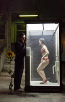 Tom Mothersdale (Tinker), Natalie Klamar (The Woman) in CLEANSED by Sarah Kane opening at the Dorfman Theatre, National Theatre (NT), London SE1 on 23/02/2016 set design: Alex Eales costumes: Sussie J...