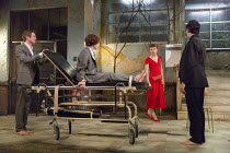 l-r: Graham Butler (Graham), Michelle Terry (Grace), Matthew Tennyson (Robin), Tom Mothersdale (Tinker) in CLEANSED by Sarah Kane opening at the Dorfman Theatre, National Theatre (NT), London SE1 on 2...