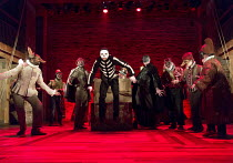 �Parliament of Death' - centre: Tom McCall (Death / acrobat) in DON QUIXOTE adapted by James Fenton from the novel by Miguel de Cervantes opening at the RSC Swan Theatre, Stratford-upon-Avon, Engla...
