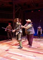 l-r: David Threlfall (Don Quixote), Rufus Hound (Sancho Panza) in DON QUIXOTE adapted by James Fenton from the novel by Miguel de Cervantes opening at the RSC Swan Theatre, Stratford-upon-Avon, Englan...