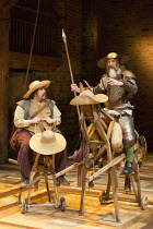 l-r: Rufus Hound (Sancho Panza), David Threlfall (Don Quixote) in DON QUIXOTE adapted by James Fenton from the novel by Miguel de Cervantes opening at the RSC Swan Theatre, Stratford-upon-Avon, Englan...