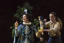 Ruth Everett (The Duchess), Rosa Robson (Hawk puppeteer) in DON QUIXOTE adapted by James Fenton from the novel by Miguel de Cervantes opening at the RSC Swan Theatre, Stratford-upon-Avon, England on 0...